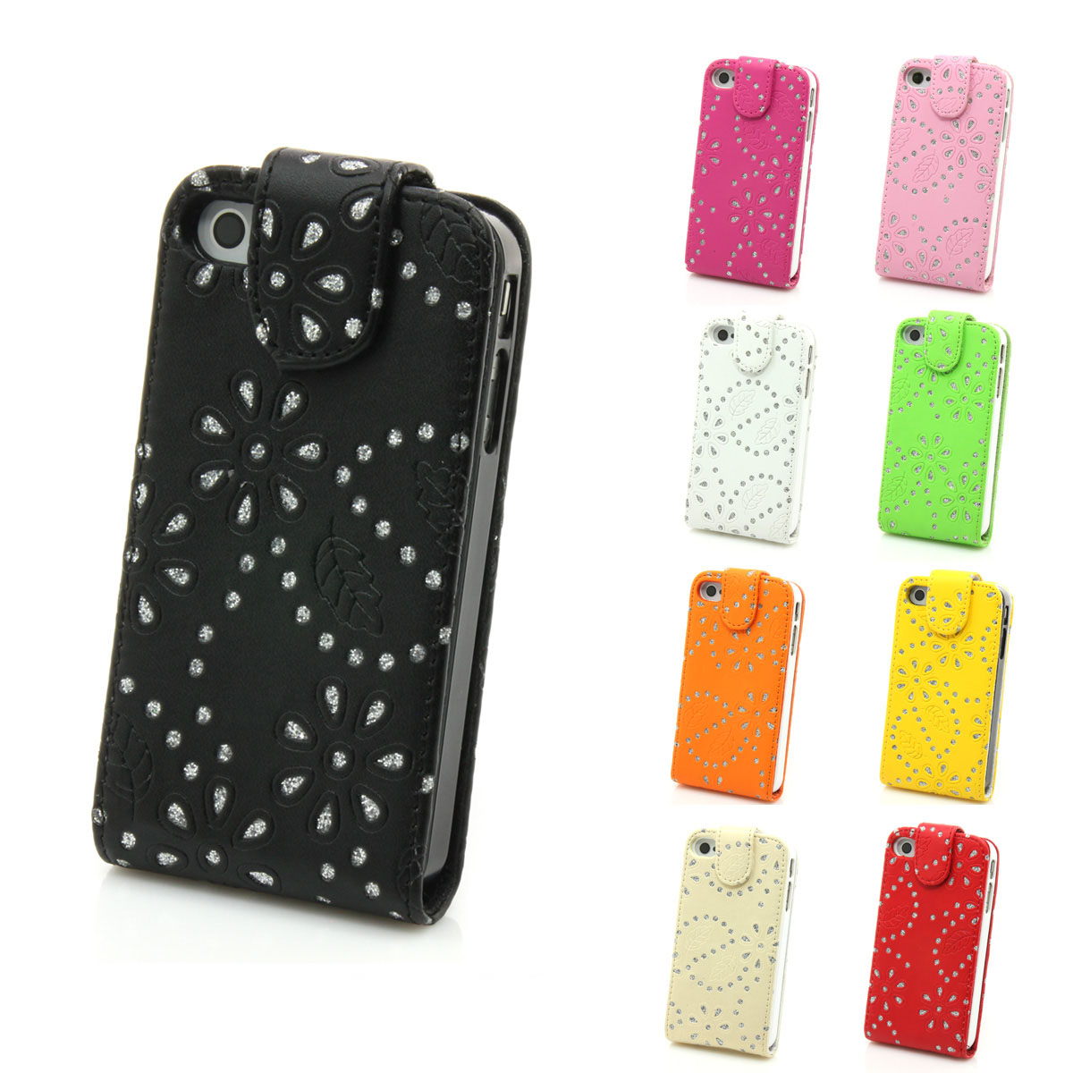 iphone 4 4s echt leder tasche glitzer h lle case. Black Bedroom Furniture Sets. Home Design Ideas