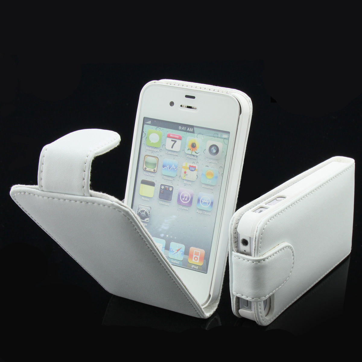 iphone 4 4s echt leder tasche wei h lle case schutzh lle. Black Bedroom Furniture Sets. Home Design Ideas