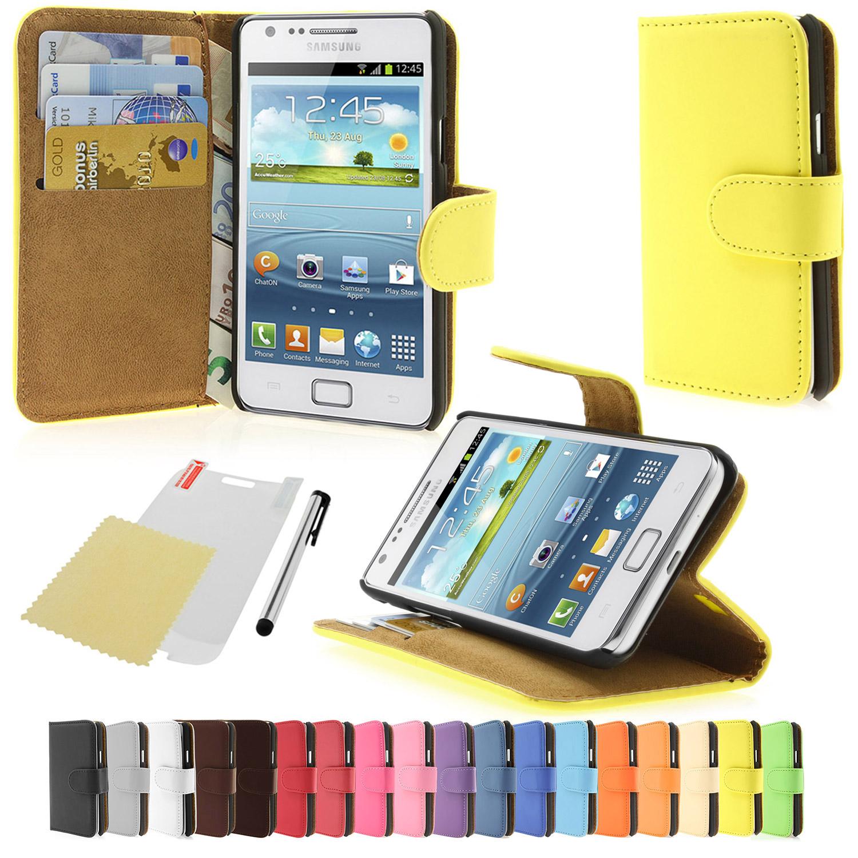 Samsung-Galaxy-S2-i9100-i9105-Kunst-Leder-Tasche-Schutz-Huelle-Wallet-Case-Farbau
